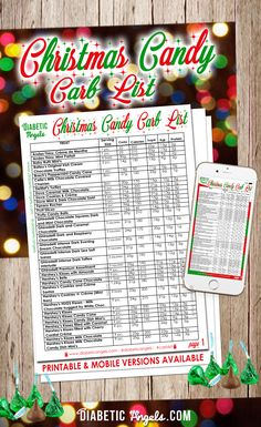 Christmas Candy Carb List - Download and Print Now!   www.diabeticangels.com
