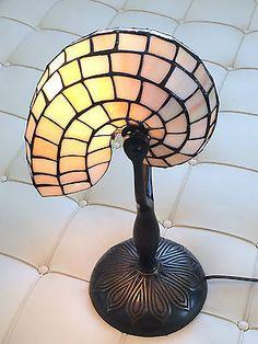 Dale Tiffany Nautilus Snail Art Glass Light Table Lamp