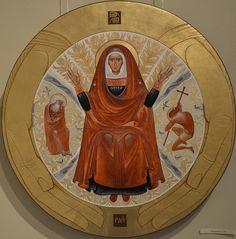 Theotokos Who Provides Bread icon with St John the Baptist and Prophet Elijah, by Lyuba Yatskiv, 2015.