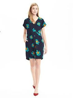Floral Cap-Sleeve Dress | Banana Republic