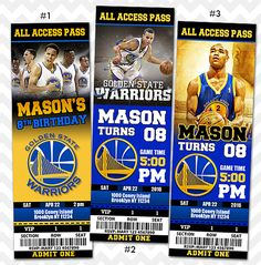 Golden State Warriors Invitation, Steph Curry Invitation sold by ithinkparty on Storenvy Basketball Party, Basketball Birthday, Ticket Invitation, Digital Invitations, Teen Birthday, 13th Birthday, Birthday Ideas, Birthday Stuff, Stephen Curry Birthday