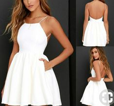 White Mini Dress Spaghetti Strap Backless Skater A Line Party Simple Dress Casual, Simple Dresses, Cheap Dresses, Casual Dresses, Fashion Dresses, Formal Dresses, Banquet Dresses, Hoco Dresses, Homecoming Dresses