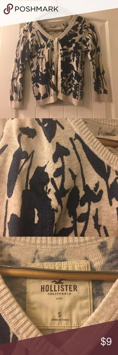Hollister Cardigan Tan Hollister cardigan with blue and black floral print Hollister Sweaters Cardigans