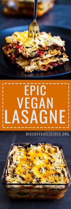 Epic Vegan Lasagne Recipe - perfect for a large family meal or meal prep for the week! So delicious and satisfying but remains light! #pasta #healthy #recipes #tomato #dinner #party #mains Discover Delicious | www.discoverdelicious.org