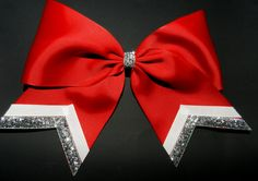 Texas Size Cheer bow - single layer - trimed ends - squad discounts from ABCBows on Etsy. Saved to Cheer stuff. Cute Cheer Bows, Cheer Mom, Big Bows, Cheer Stuff, Cheer Hair Bows, Softball Bows, Cheerleading Bows, Softball Hair, Football Cheer