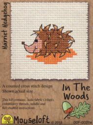 Mouseloft In The Woods Counted Cross Stitch Kit - Harriet Hedgehog (could alter this and make a Opossum pattern)
