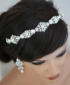 Filigree Pearl and rhinestone Headband, Crystal Wedding Hair Accessories, Bridal headband Tiara CARA.
