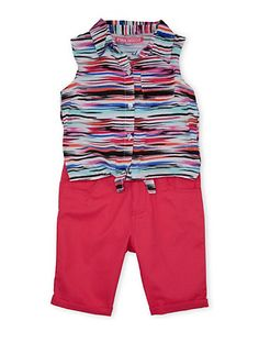 Girls 7-12 Striped Shirt with Tie Front and Bermuda Shorts Set