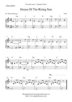 Free Sheet Music Scores: Free piano sheet music score, House Of The Rising Sun