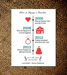 Timeline of Love - Save the Date Magnets or card - Custom save the date magnets. $15.00, via Etsy.