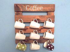 Coffee mug holder rustic mug rack coffee cup by TheWoodenOwl