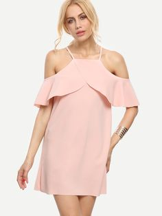 ¡Cómpralo ya!. Pink Cold Shoulder Ruffle Sleeve Dress. Pink Cute Polyester Spaghetti Strap Cap Sleeve Shift Mini Plain Fabric has no stretch Summer Tunic Dresses. , vestidoinformal, casual, informales, informal, day, kleidcasual, vestidoinformal, robeinformelle, vestitoinformale, día. Vestido informal  de mujer color rosa de SheIn.