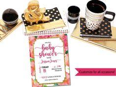 Printable watercolor flower baby shower invitation  / Spade baby shower invitation / floral baby shower invite / Kate shower invite by PrettyPrintablesInk