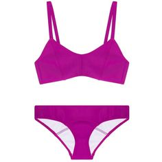 Lisa Marie Fernandez Genevieve Bonded Bikini (4 710 ZAR) ❤ liked on Polyvore featuring swimwear, bikinis, lisa marie fernandez swimwear, pink swimwear, sporty swimwear, low rise bikini and sporty bikini