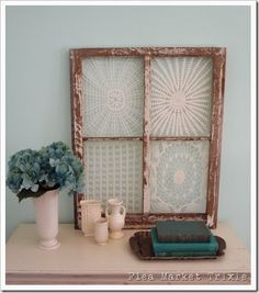 Repurposed Vintage Doilies and Frames - set doilies slightly off-canter, epoxy glue or staple to frame and trip excess