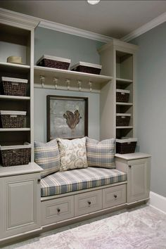 love these built in shelves and seating, hmmm window seat. Decor, Built In Shelves, Furniture, New Homes, House, Mudroom Design, Home Decor, House Interior, Room Design