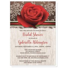 I wanted to share with you these Rustic Wood Lace Red Rose Bridal Shower Invitations? Do you like them?  | Rich and beautiful rustic red rose Bridal Shower invitations with a light wood design. Rustic floral Bridal Shower invitations with a large red rose illustration at the top over a rich brown background with a cream lace design. Your bridal shower details are printed in red and brown over a light wood pattern. This rustic red rose and brown drawing makes these invitations a unique and…