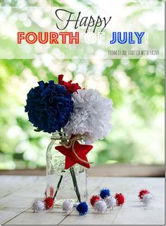 Fourth of July Centerpiece Mason Jar