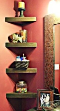 Space saving corner shelves for small bathroom vanity/sink area