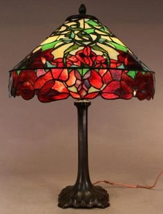 "Whaley Red Poppy Table Lamp  Whaley red Oriental poppy leaded glass lamp.  Measures 20"" in diameter and stands 25"" tall."