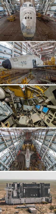 Abandoned Soviet Buran Space Shuttles rotting away in their derelict hangar