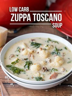 This Low Carb Zuppa Toscano Soup is low on carbs, but HUGE on flavor! My whole family loved this easy soup!