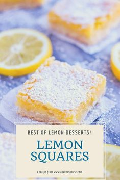 Lemon squares or lemon bars are easily made with a shortbread crust and a lemon custard layer baked on top. Finish with a sprinkle of confectioners sugar. My grandmother's recipe is a family favorite! Lemon Desserts, Lemon Recipes, Easy Desserts, Sweet Recipes, Delicious Desserts, Yummy Food, Brownie Recipes, Cookie Recipes, Dessert Recipes