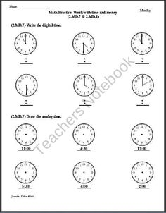 (2.MD.7 & 2.MD.8 Time & Money - 2nd Grade Common Core Math Worksheets product from Common-Core-Math on TeachersNotebook.com
