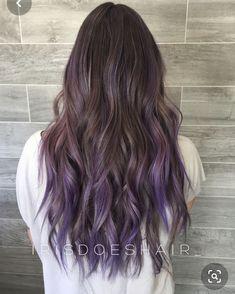 Purple Grey Hair, Balayage Hair Purple, Brown Ombre Hair, Ombre Hair Color, Hair Colors, Balayage Highlights, Balayage Color, Blonde Hair, Purple Hair Tips