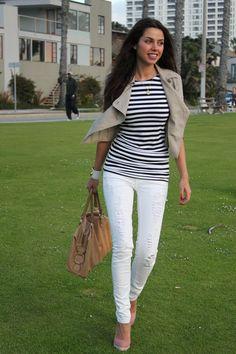 Zara - Top Black and White  Forever 21 – Cropped Trench Coat  J Brand – White Denim  Bamboo – Pink Pumps  Tod's - Handbag