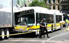 More than a dozen passengers were injured when a MBTA bus crashed into a film production truck for the Sandra Bullock movie The Heat in Dudley Square, Boston