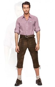 Bavarian leather trousers knee length Sigmar moor brown Mens Leather Pants 11bce8373