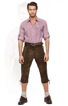 Bavarian leather trousers knee length Sigmar moor brown