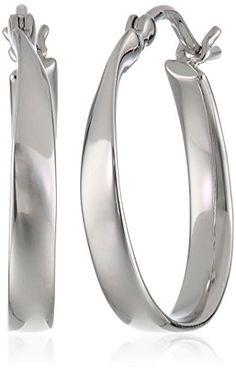 """Platinum Plated Sterling Silver Hoop Earrings (1.0"""" Diameter)"""