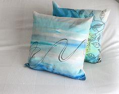 Aqua blue hand-painted pillow unique cotton cushion by EJSIdsgn