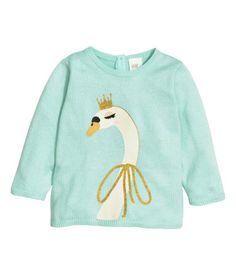 Fine-knit sweater in a soft cotton blend with long sleeves. Buttons at back of neck. H&m Fashion, Fashion Kids, Fashion Outfits, Baby Kids Clothes, Men Clothes, Girl Clothing, Baby Girl Tops, Baby Winter, Shirt Shop