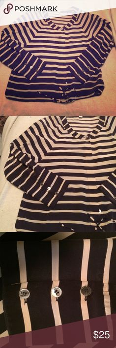 J. Crew top Size 8. Very cute stripped ombré top from J.crew. The top itself is flawless. The buttons do have some wear on them. Very cute shirt! J. Crew Tops Button Down Shirts