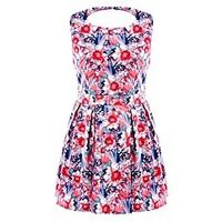 Koko Cut Out Back Floral Print Dress - Large Size Clothing - www.plussizedglamour.co.uk