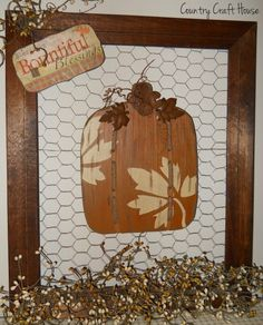 framed chickenwire with heart would be perfect for wedding. Repurposed picture frame ~from Country Craft House Primitive Wood Crafts, Country Primitive, Primitive Fall, Country Crafts, Country Decor, Country Fall, Chicken Wire Crafts, Gingerbread Decorations, Primitive Decorations