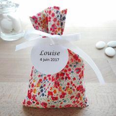Ballotin mariage & baptême - tissu liberty phoebe multicolore - ruban satin blanc