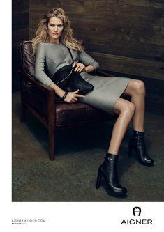 Toni Garrn models handbags in Aigner's fall 2016 advertisements