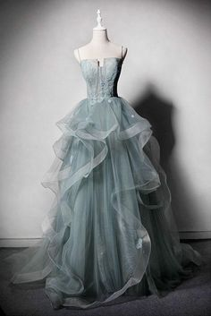 Light Green Tulle Long Lace Top Ruffles Evening Dress, Sweet 16 Prom Dress from Sweetheart Dress - Prom Hairstyles Ball Dresses, Ball Gowns, Prom Dresses, Formal Dresses, Wedding Dresses, Green Evening Dress, Evening Dresses, Trendy Dresses, Nice Dresses