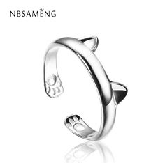 Silver Plated Cat Ear Ring Design Cute Fashion Jewelry Cat Ring For Women Young Girl Child Gifts Adjustable Anel WAA1002