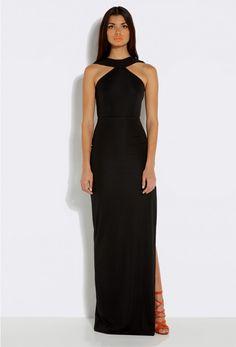 Libby Black Neck Strap Maxi Dress with Side Slit £110