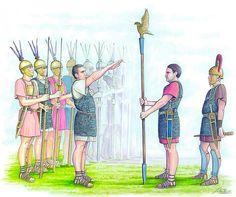 """Ceremony of the delivery of the eagle in the formation of the new legion.""- Pintura y la Guerra. Sursumkorda in memoriam"