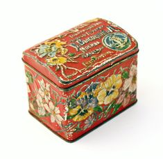 Antique TIN BOX Tea box pre 1900 imperial Russian with flowers. $47.00, via Etsy.