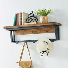 Carbon Loft Ciaravino 40-inch Rustic Wood Coat Hook with Shelf Rustic Coat Hooks, Coat Hook Shelf, Declutter Your Home, Wood And Metal, Black Metal, Rustic Design, Foyer Design, Wood Shelves, Home Decor Outlet