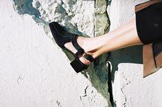 SLING BACK MULE, BLACK/GREEN Maryam Nassir Zadeh
