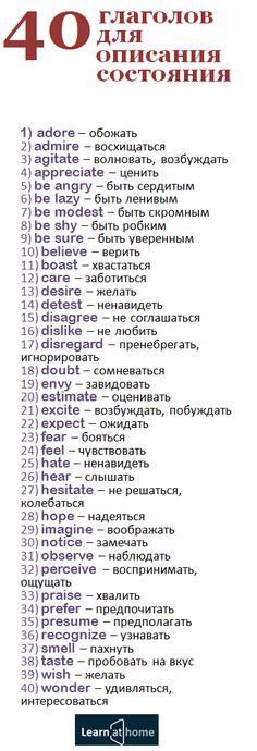 40 английских глаголов, для описания состояния #english #английский #verbs #глагол