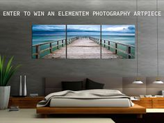 "Elementem Photography GIVEAWAY; We are offering you a chance to have an ocean view from your bedroom. Partnering Elementem Photography, we are giving away an oceanic photography triptych features threet 20"" squares that hang together to create a tranquil image of the Baltic Sea. LIKE & SHARE, then enter to win:"